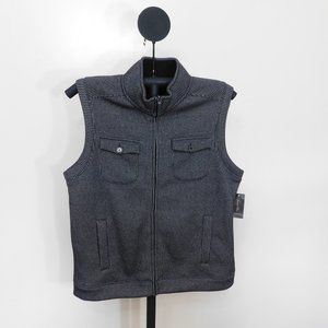 Tasso Elba Black Sherpa Lined Collar Vest - Large
